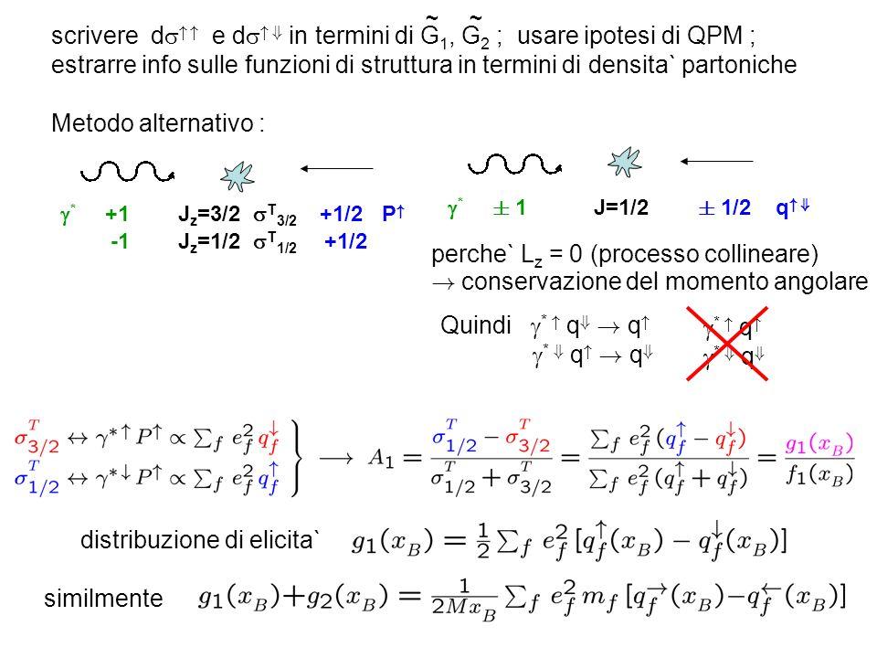 scrivere d e d + in termini di G 1, G 2 ; usare ipotesi di QPM ; estrarre info sulle funzioni di struttura in termini di densita` partoniche ~~ Metodo alternativo : * +1 J z =3/2 T 3/2 +1/2 P -1 J z =1/2 T 1/2 +1/2 * § 1 J=1/2 § 1/2 q + perche` L z = 0 (processo collineare) .