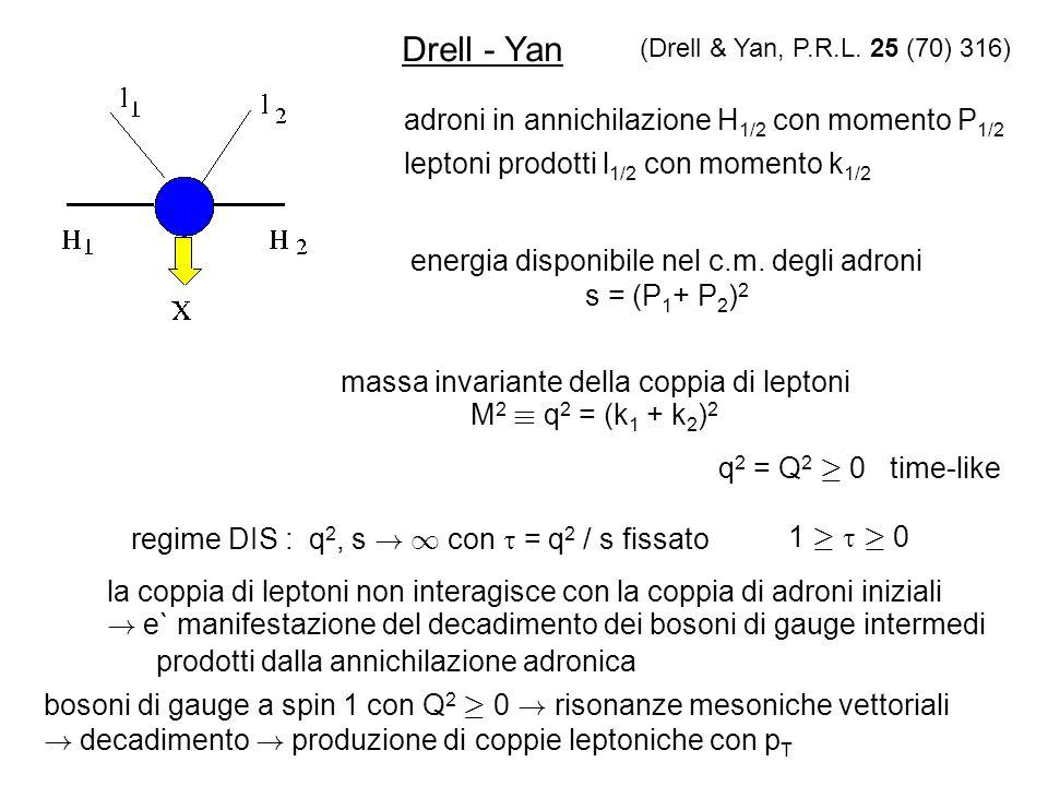 Drell - Yan adroni in annichilazione H 1/2 con momento P 1/2 leptoni prodotti l 1/2 con momento k 1/2 energia disponibile nel c.m. degli adroni s = (P