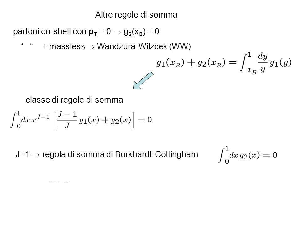 Altre regole di somma partoni on-shell con p T = 0 ! g 2 (x B ) = 0 + massless ! Wandzura-Wilzcek (WW) classe di regole di somma J=1 ! regola di somma