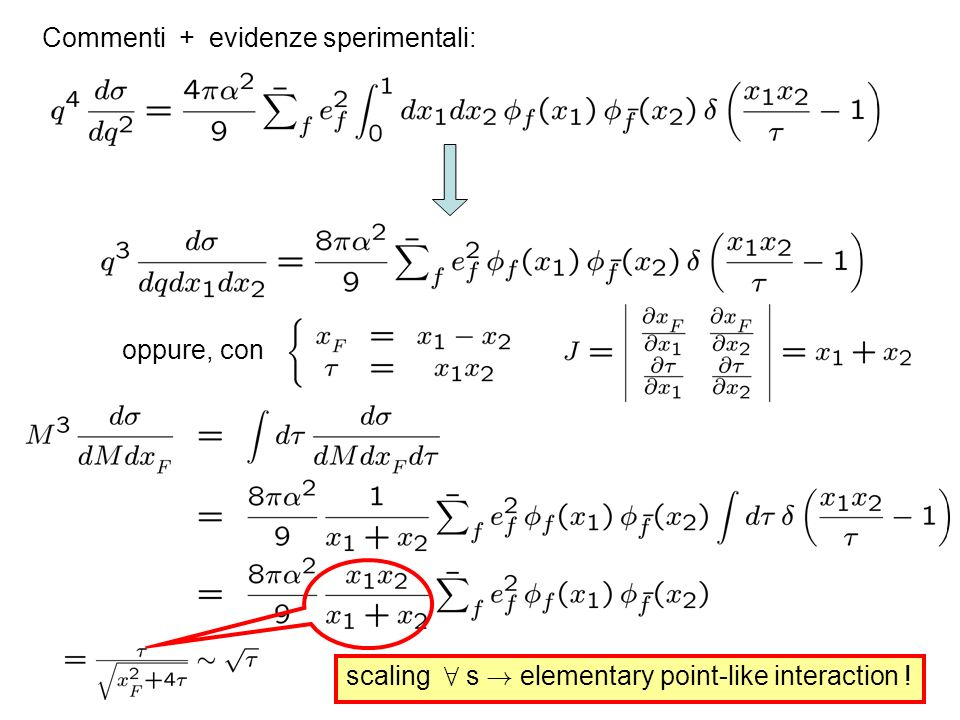 Commenti + evidenze sperimentali: oppure, con scaling 8 s ! elementary point-like interaction !