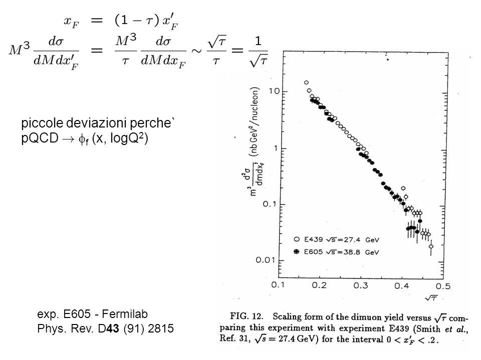 exp. E605 - Fermilab Phys. Rev. D43 (91) 2815 piccole deviazioni perche` pQCD ! f (x, logQ 2 )