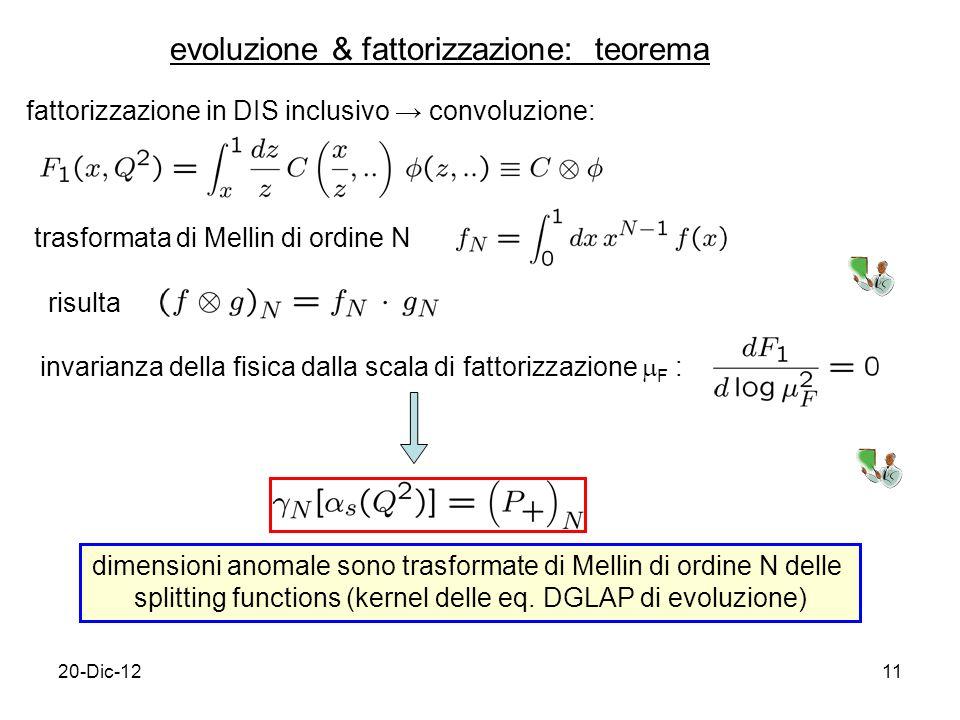 20-Dic-1211 evoluzione & fattorizzazione: teorema fattorizzazione in DIS inclusivo convoluzione: trasformata di Mellin di ordine N risulta invarianza della fisica dalla scala di fattorizzazione F : dimensioni anomale sono trasformate di Mellin di ordine N delle splitting functions (kernel delle eq.