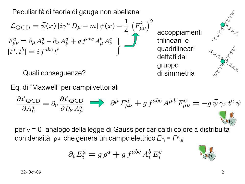 22-Oct-092 Peculiarità di teoria di gauge non abeliana accoppiamenti trilineari e quadrilineari dettati dal gruppo di simmetria Quali conseguenze.