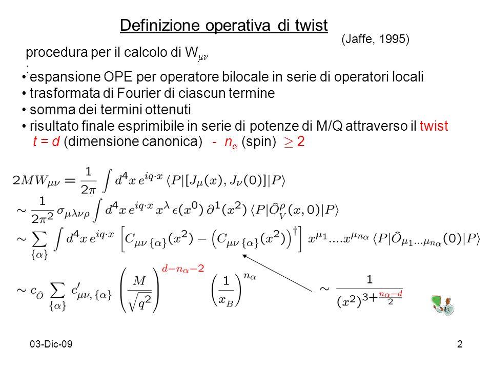 03-Dic-092 Definizione operativa di twist procedura per il calcolo di W : espansione OPE per operatore bilocale in serie di operatori locali trasforma