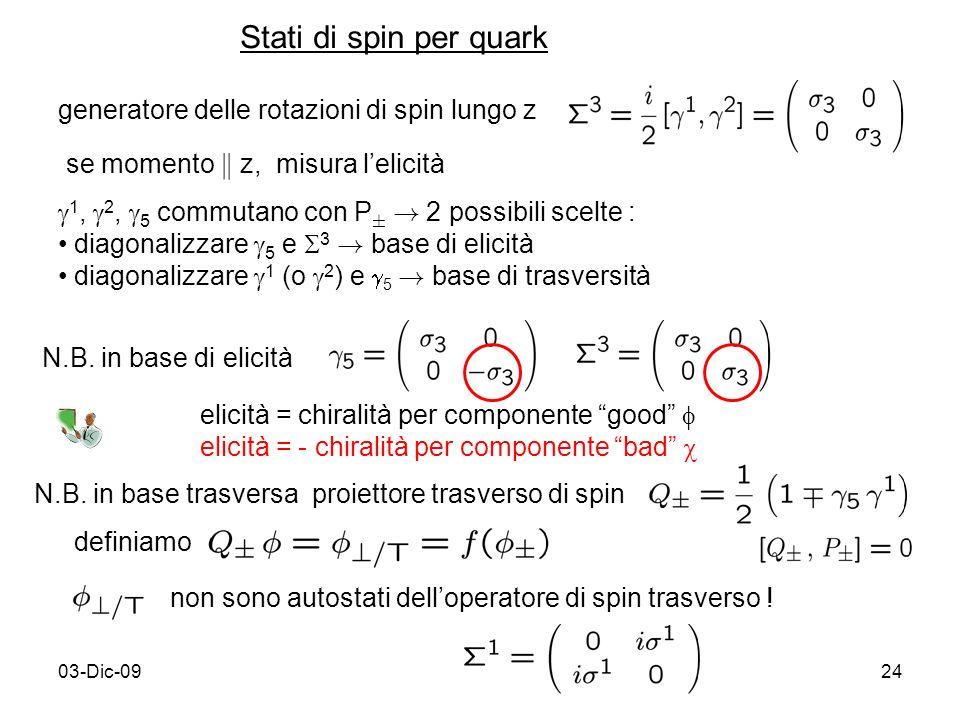 03-Dic-0924 generatore delle rotazioni di spin lungo z se momento k z, misura lelicità 1, 2, 5 commutano con P § ! 2 possibili scelte : diagonalizzare