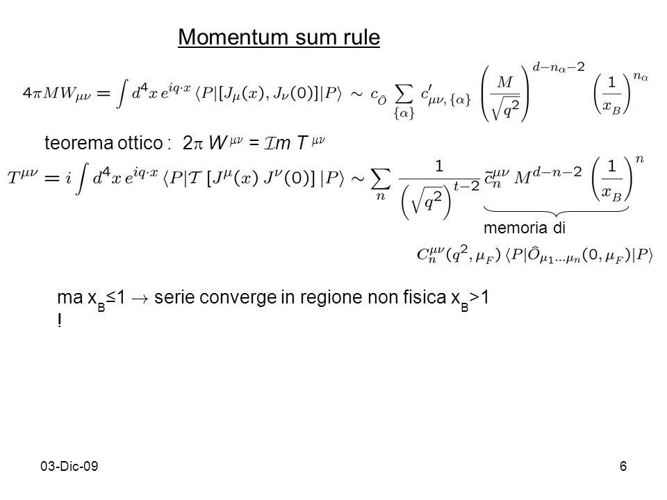 03-Dic-096 Momentum sum rule teorema ottico : 2 W = I m T memoria di ma x B1 ! serie converge in regione non fisica x B >1 !