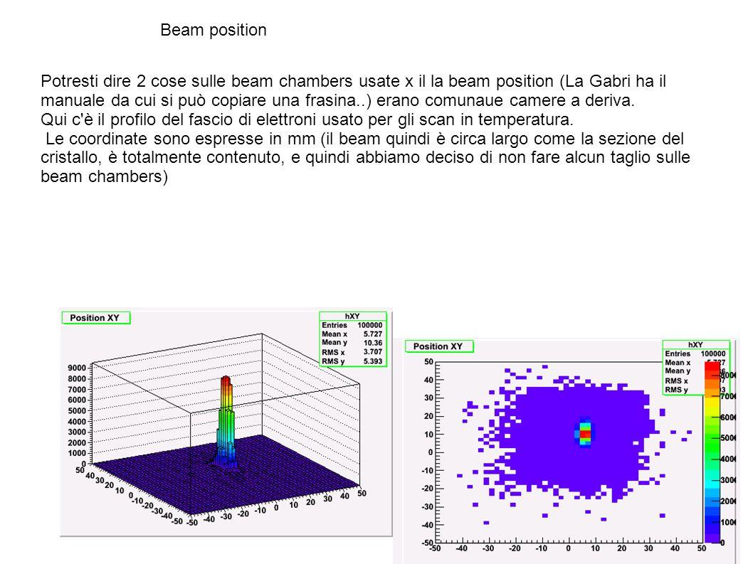 Beam position Potresti dire 2 cose sulle beam chambers usate x il la beam position (La Gabri ha il manuale da cui si può copiare una frasina..) erano comunaue camere a deriva.