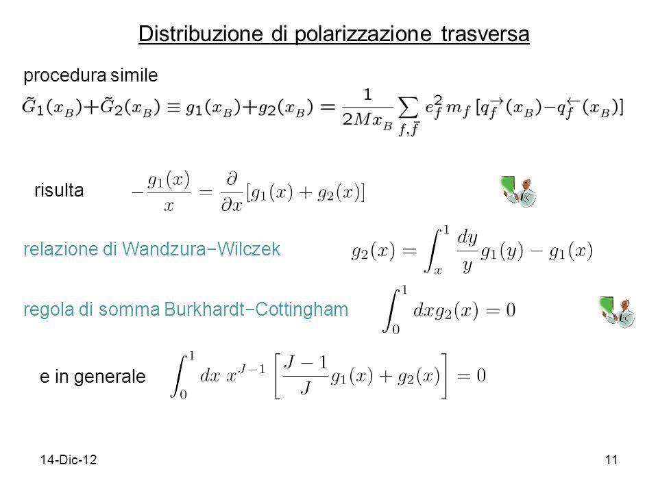 14-Dic-1211 Distribuzione di polarizzazione trasversa procedura simile risulta relazione di WandzuraWilczek regola di somma BurkhardtCottingham e in g
