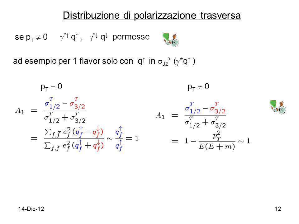14-Dic-1212 Distribuzione di polarizzazione trasversa se p T 0 * q, * q permesse ad esempio per 1 flavor solo con q in Jz ( *q ) p T 0