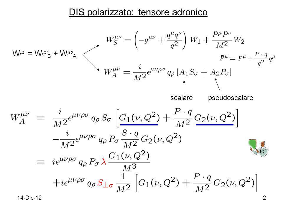 14-Dic-1213 In generale g 1 (x B,Q 2 ) : dipendenza da Q 2 (= violazione dello scaling) calcolabile in QCD perturbativa interesse in g 1 (x B,Q 2 ) è dovuto al fatto che il suo 1 o momento di Mellin fornisce informazioni sullelicità dei quark ed inoltre è calcolabile su reticolo 1 o momento di Mellin di g 1 Distribuzione di elicità e misura dello spin exp.