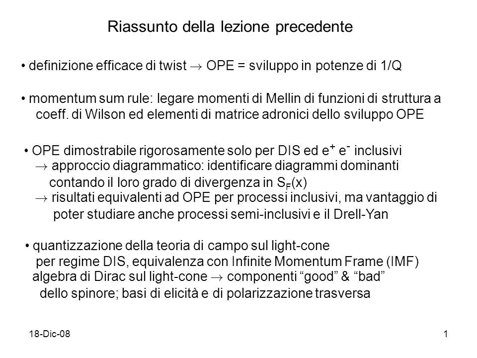 18-Dic-081 Riassunto della lezione precedente definizione efficace di twist .