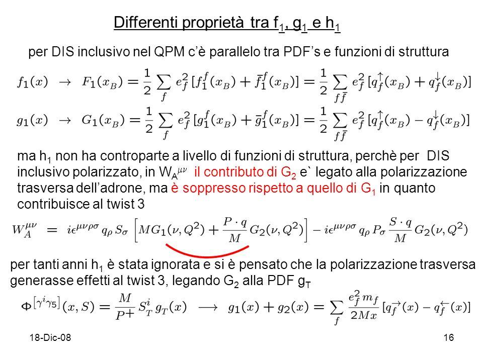 18-Dic-0816 Differenti proprietà tra f 1, g 1 e h 1 per DIS inclusivo nel QPM cè parallelo tra PDFs e funzioni di struttura ma h 1 non ha controparte a livello di funzioni di struttura, perchè per DIS inclusivo polarizzato, in W A il contributo di G 2 e` legato alla polarizzazione trasversa delladrone, ma è soppresso rispetto a quello di G 1 in quanto contribuisce al twist 3 per tanti anni h 1 è stata ignorata e si è pensato che la polarizzazione trasversa generasse effetti al twist 3, legando G 2 alla PDF g T