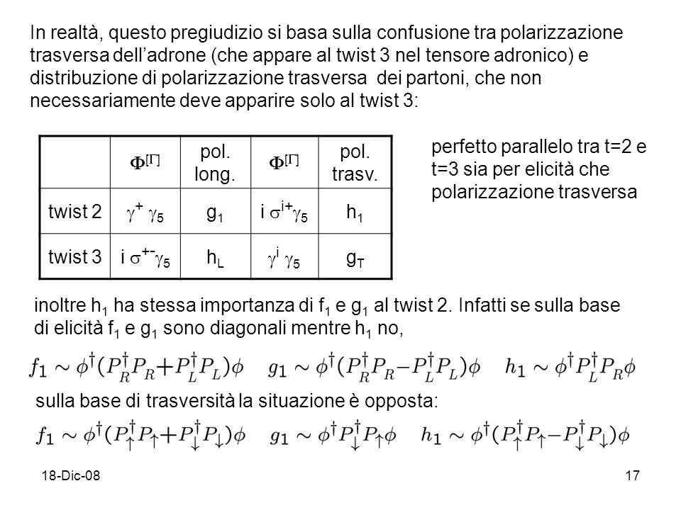 18-Dic-0817 In realtà, questo pregiudizio si basa sulla confusione tra polarizzazione trasversa delladrone (che appare al twist 3 nel tensore adronico) e distribuzione di polarizzazione trasversa dei partoni, che non necessariamente deve apparire solo al twist 3: [ ] pol.