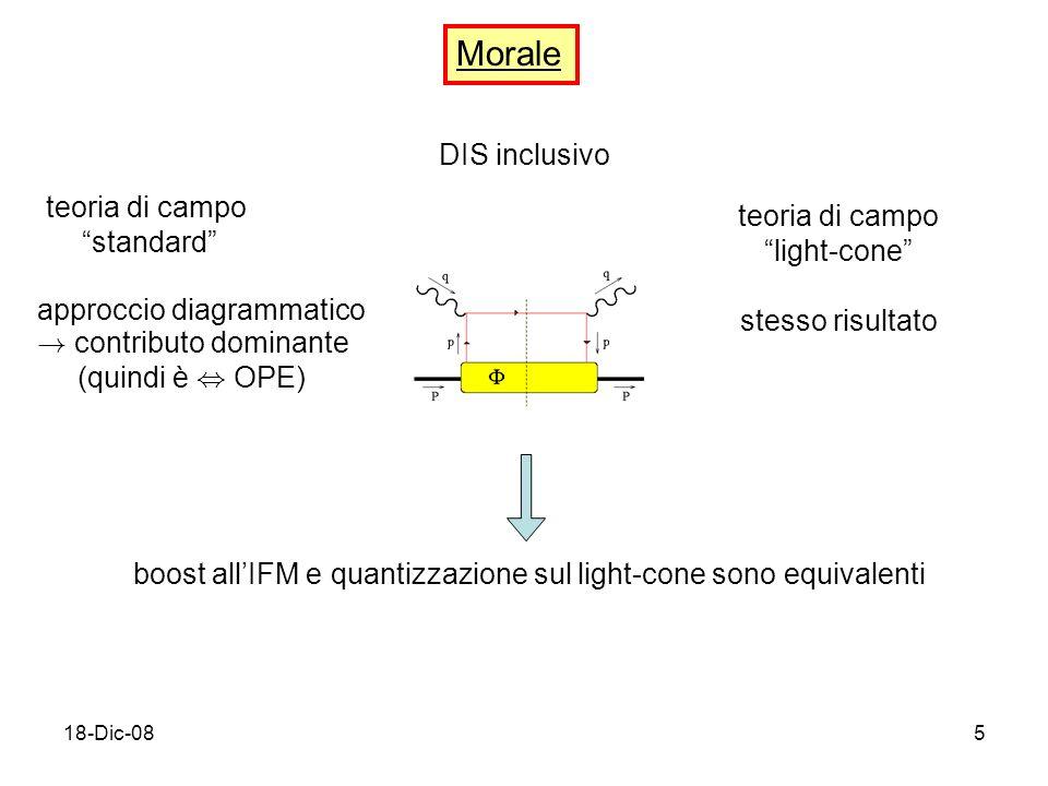 18-Dic-085 Morale DIS inclusivo teoria di campo standard approccio diagrammatico .