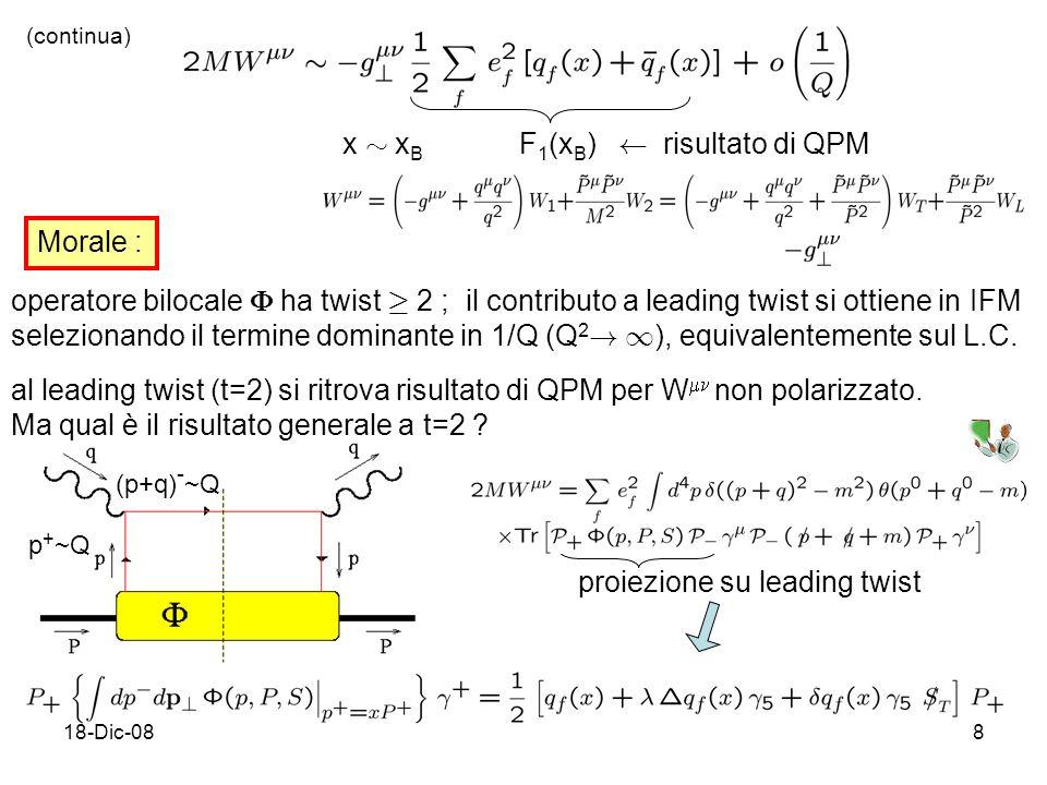 18-Dic-088 x » x B F 1 (x B ) Ã risultato di QPM (continua) Morale : operatore bilocale ha twist ¸ 2 ; il contributo a leading twist si ottiene in IFM selezionando il termine dominante in 1/Q (Q 2 .