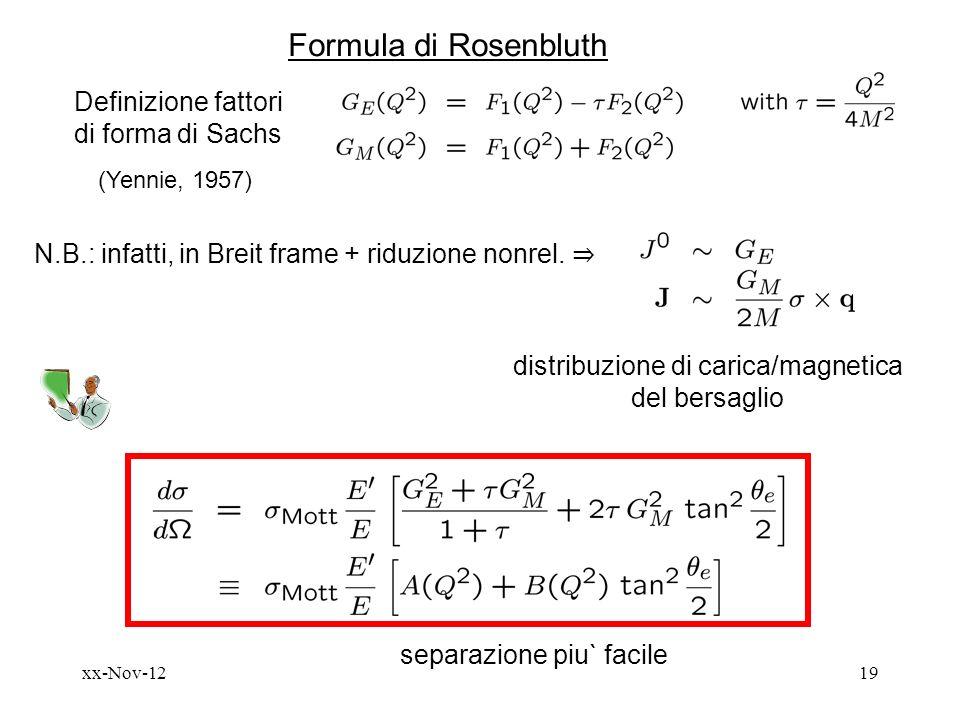 xx-Nov-1219 Formula di Rosenbluth Definizione fattori di forma di Sachs (Yennie, 1957) N.B.: infatti, in Breit frame + riduzione nonrel.