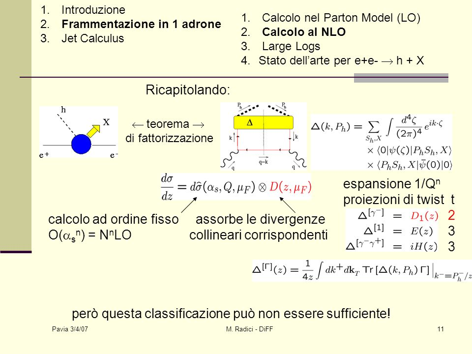 Pavia 3/4/07 M. Radici - DiFF11 espansione 1/Q n proiezioni di twist t 2 3 Ricapitolando: teorema di fattorizzazione calcolo ad ordine fisso assorbe l