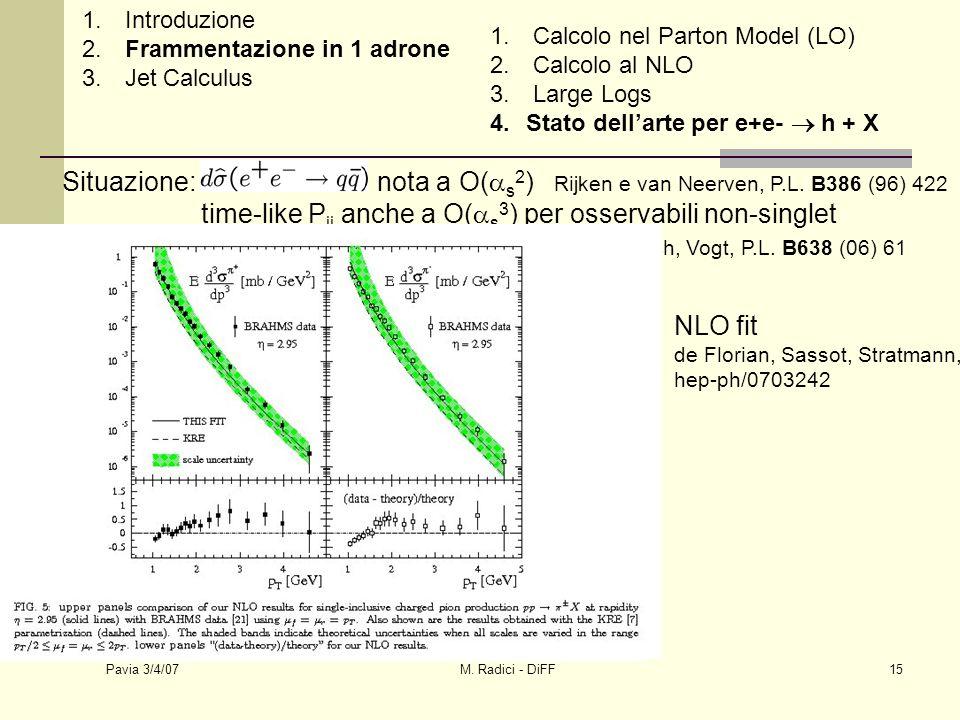 Pavia 3/4/07 M. Radici - DiFF15 Situazione: nota a O( s 2 ) Rijken e van Neerven, P.L. B386 (96) 422 time-like P ij anche a O( s 3 ) per osservabili n