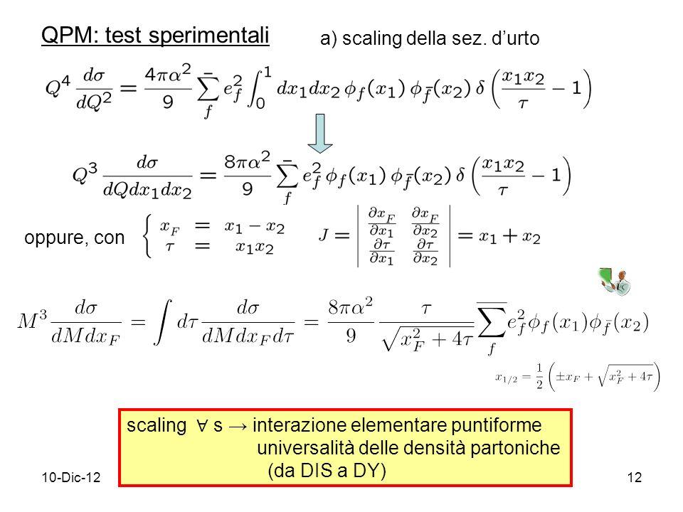 10-Dic-1212 QPM: test sperimentali oppure, con scaling s interazione elementare puntiforme universalità delle densità partoniche (da DIS a DY) a) scaling della sez.
