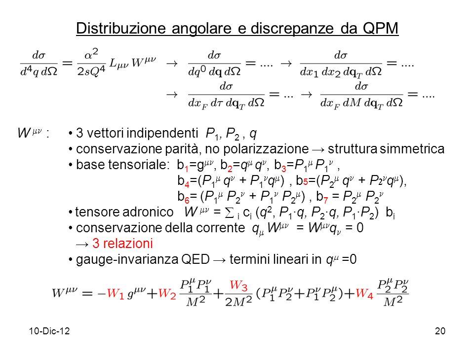 10-Dic-1220 3 vettori indipendenti P 1, P 2, q conservazione parità, no polarizzazione struttura simmetrica base tensoriale: b 1 =g, b 2 =q q, b 3 =P 1 P 1, b 4 =(P 1 q + P 1 q ), b 5 =(P 2 q + P q ), b 6 = (P 1 P 2 + P 1 P 2 ), b 7 = P 2 P 2 tensore adronico W = i c i (q 2, P 1q, P 2q, P 1P 2 ) b i conservazione della corrente q W = W q = 0 3 relazioni gauge-invarianza QED termini lineari in q =0 Distribuzione angolare e discrepanze da QPM W :