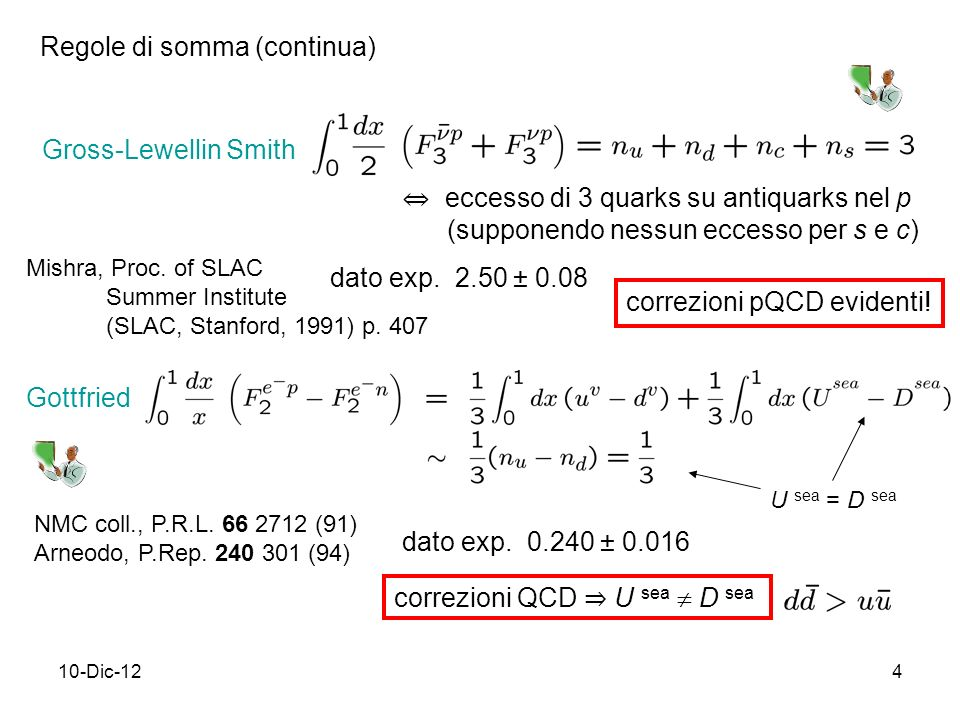 10-Dic-124 Gross-Lewellin Smith dato exp. 2.50 ± 0.08 correzioni pQCD evidenti! Regole di somma (continua) eccesso di 3 quarks su antiquarks nel p (su