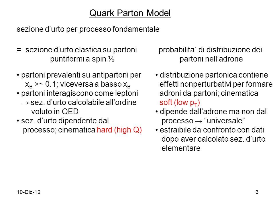 10-Dic-126 Quark Parton Model sezione durto per processo fondamentale = sezione durto elastica su partoni puntiformi a spin ½  probabilita` di distribuzione dei partoni nelladrone partoni prevalenti su antipartoni per x B >~ 0.1; viceversa a basso x B partoni interagiscono come leptoni sez.