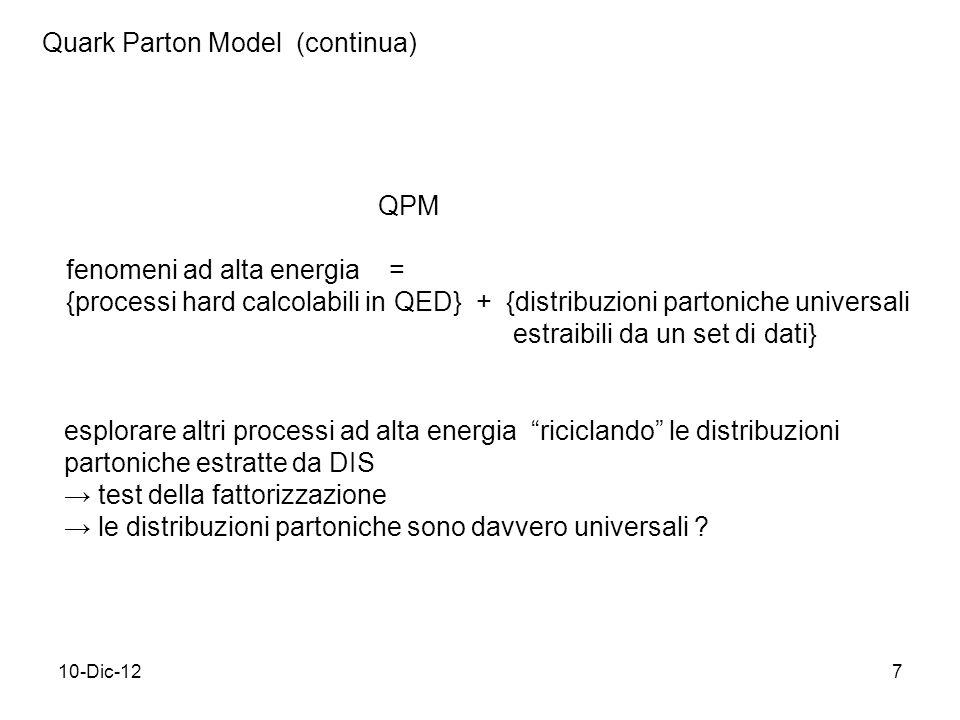 10-Dic-127 Quark Parton Model (continua) fenomeni ad alta energia = {processi hard calcolabili in QED} + {distribuzioni partoniche universali estraibili da un set di dati} QPM esplorare altri processi ad alta energia riciclando le distribuzioni partoniche estratte da DIS test della fattorizzazione le distribuzioni partoniche sono davvero universali