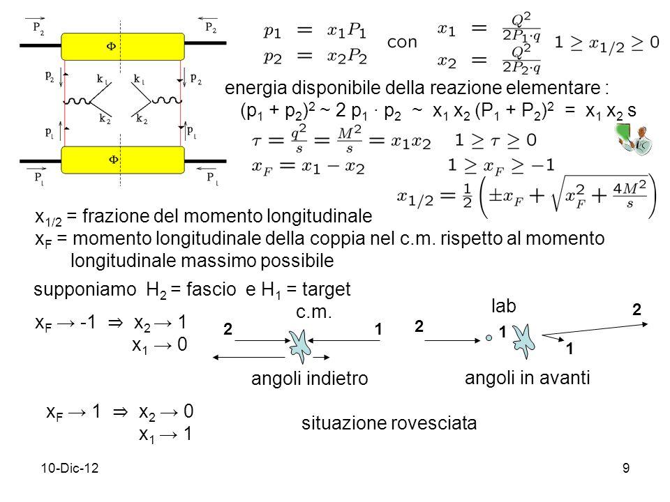 10-Dic-129 x 1/2 = frazione del momento longitudinale x F = momento longitudinale della coppia nel c.m.