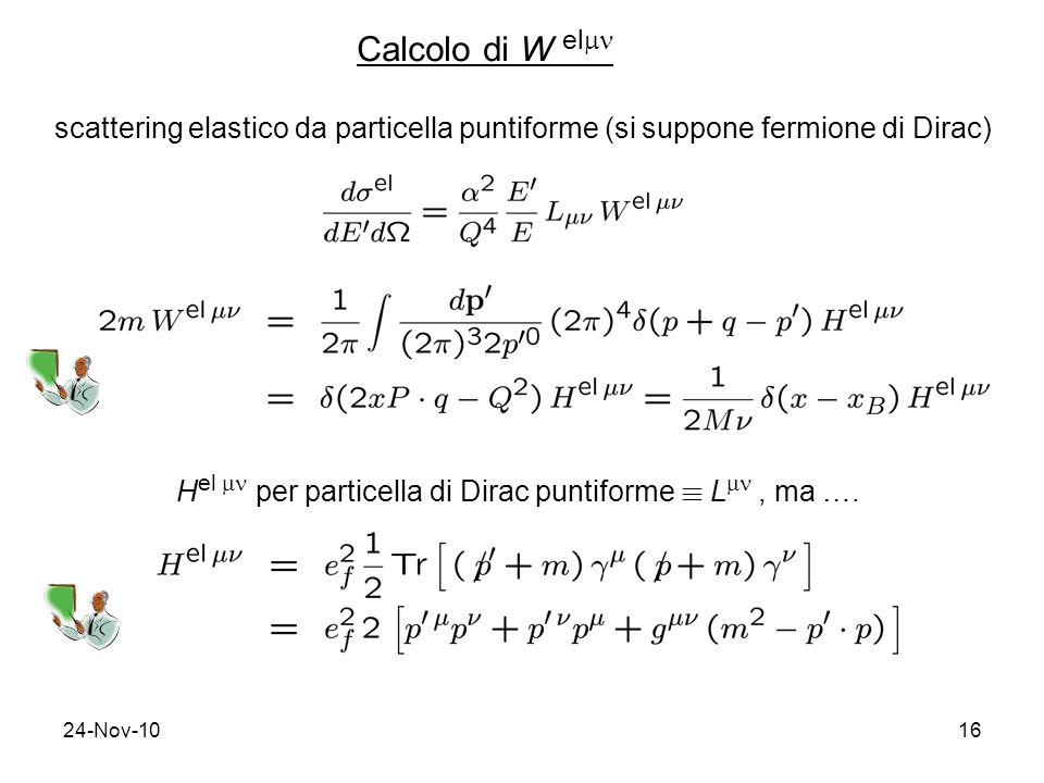 24-Nov-1016 Calcolo di W el scattering elastico da particella puntiforme (si suppone fermione di Dirac) H el per particella di Dirac puntiforme ´ L, ma ….