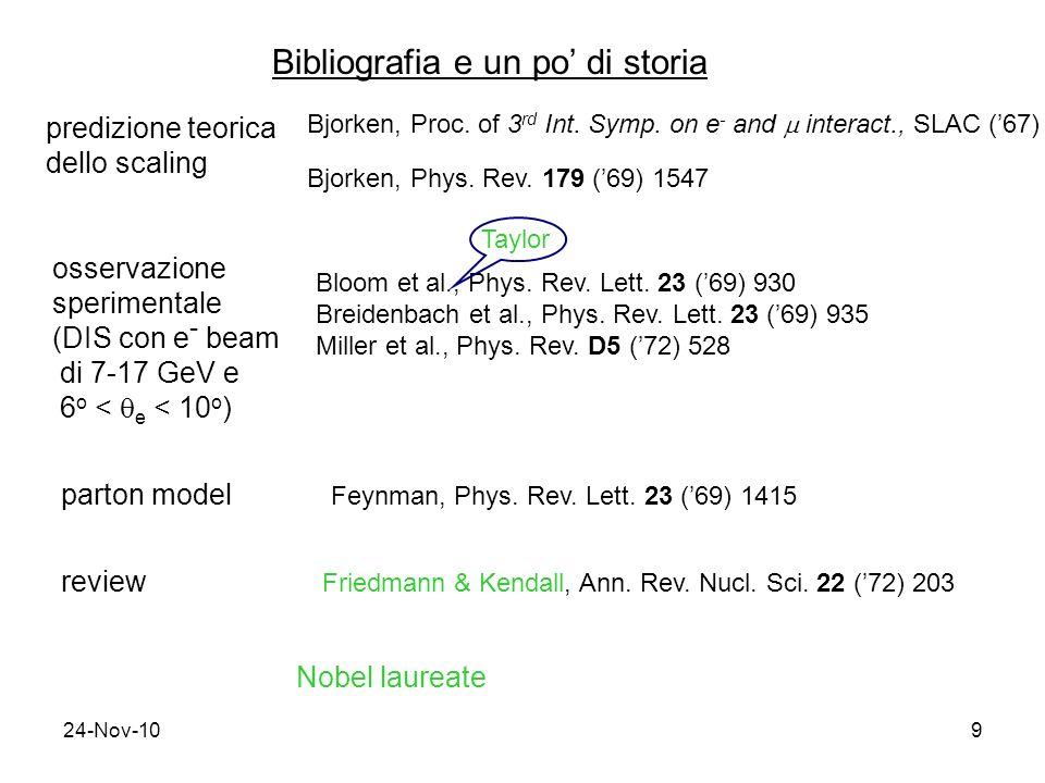 24-Nov-109 Bibliografia e un po di storia predizione teorica dello scaling Bjorken, Proc. of 3 rd Int. Symp. on e - and interact., SLAC (67) Bjorken,