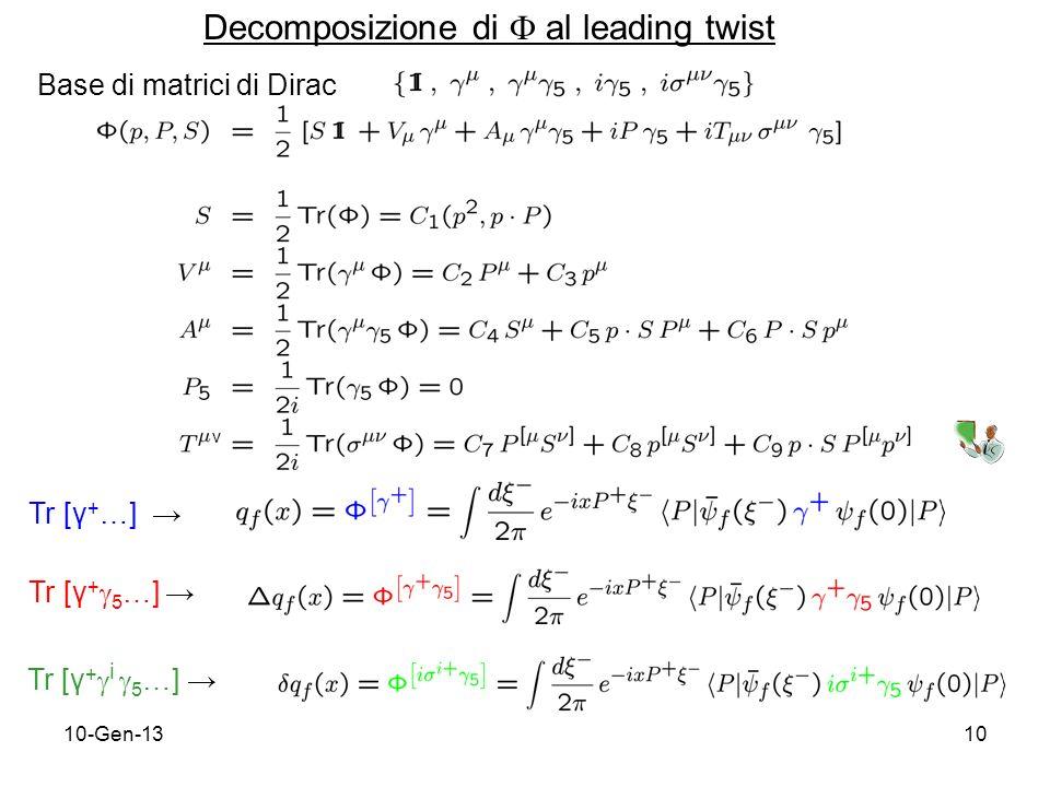 10-Gen-1310 Decomposizione di al leading twist Tr [γ + …] Tr [γ + 5 …] Tr [γ + i 5 …] Base di matrici di Dirac ν