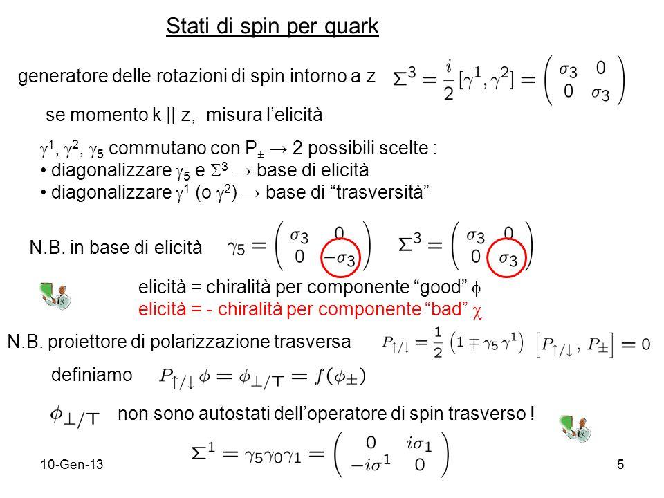 10-Gen-1326 (recente proposals PAX & ASSIA al GSI) Single-Spin Asymmetry (SSA) Ma = distribuzione di spin trasverso per antiquark in protone polarizzato antiquark del mare di Dirac è soppresso Inoltre simulazioni indicano che disuguaglianza di Soffer, imposta ad ogni Q 2 nellevoluzione, vincola A TT a numeri troppo piccoli (~ 1%) Meglio considerare ma tecnologia ancora da sviluppare Altrimenti ….