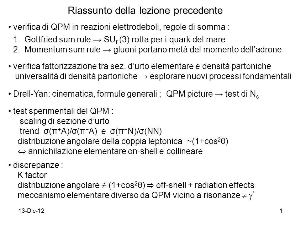 13-Dic-121 Riassunto della lezione precedente Drell-Yan: cinematica, formule generali ; QPM picture test di N c test sperimentali del QPM : scaling di sezione durto trend σ(π + A)/σ(π A) e σ(π N)/σ(NN) distribuzione angolare della coppia leptonica ~(1+cos 2 θ) annichilazione elementare on-shell e collineare discrepanze : K factor distribuzione angolare (1+cos 2 θ) off-shell + radiation effects meccanismo elementare diverso da QPM vicino a risonanze * verifica di QPM in reazioni elettrodeboli, regole di somma : 1.Gottfried sum rule SU f (3) rotta per i quark del mare 2.Momentum sum rule gluoni portano metà del momento delladrone verifica fattorizzazione tra sez.