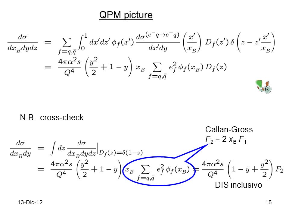 13-Dic-1215 QPM picture N.B. cross-check Callan-Gross F 2 = 2 x B F 1 DIS inclusivo