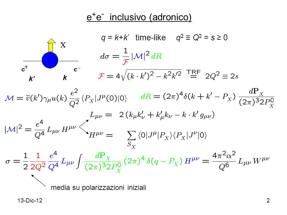 13-Dic-122 e + e - inclusivo (adronico) k k q = k+k time-like q 2 Q 2 = s 0 media su polarizzazioni iniziali