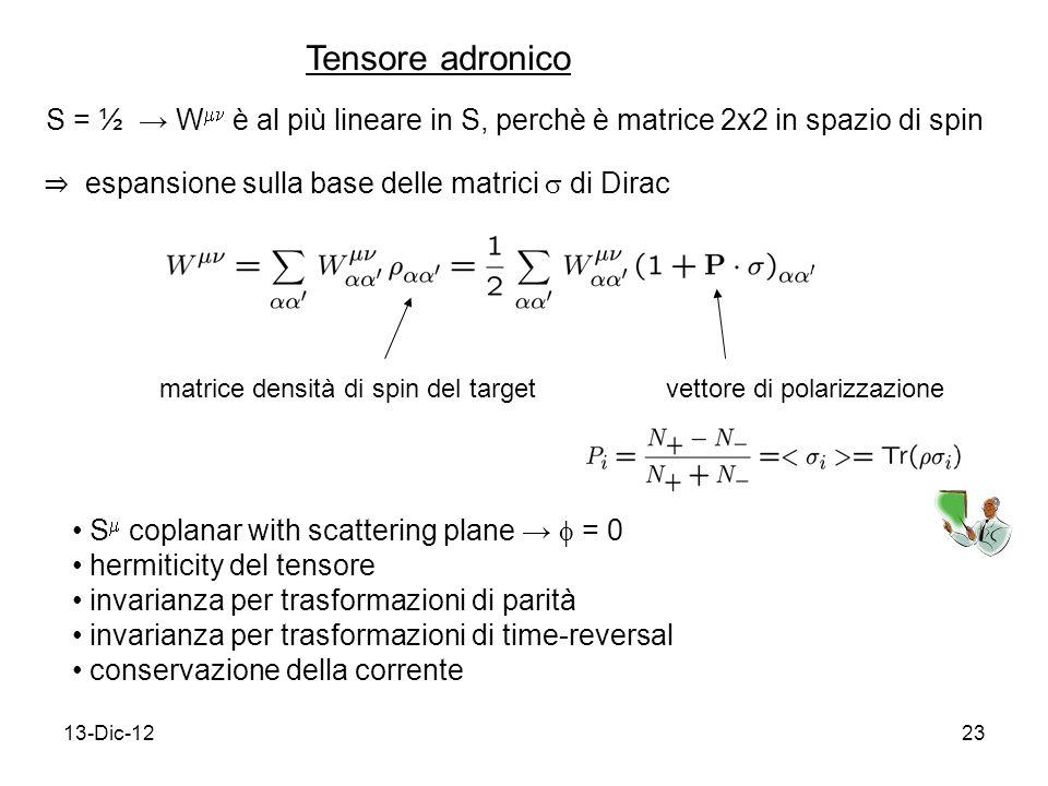 13-Dic-1223 S = ½ W è al più lineare in S, perchè è matrice 2x2 in spazio di spin vettore di polarizzazionematrice densità di spin del target Tensore adronico espansione sulla base delle matrici di Dirac S coplanar with scattering plane = 0 hermiticity del tensore invarianza per trasformazioni di parità invarianza per trasformazioni di time-reversal conservazione della corrente