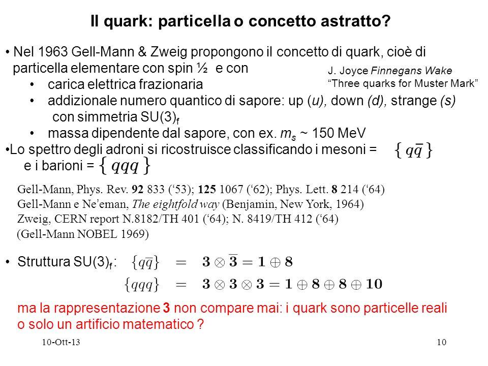 10-Ott-1310 Nel 1963 Gell-Mann & Zweig propongono il concetto di quark, cioè di particella elementare con spin ½ e con carica elettrica frazionaria addizionale numero quantico di sapore: up (u), down (d), strange (s) con simmetria SU(3) f massa dipendente dal sapore, con ex.