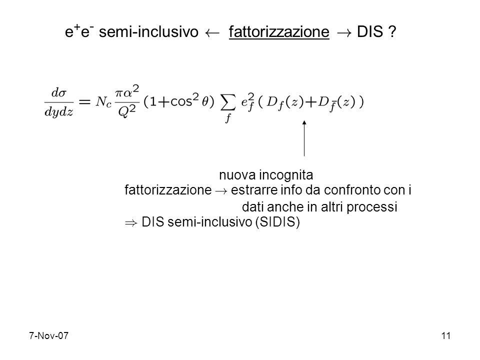 7-Nov-0711 nuova incognita fattorizzazione ! estrarre info da confronto con i dati anche in altri processi ) DIS semi-inclusivo (SIDIS) e + e - semi-i