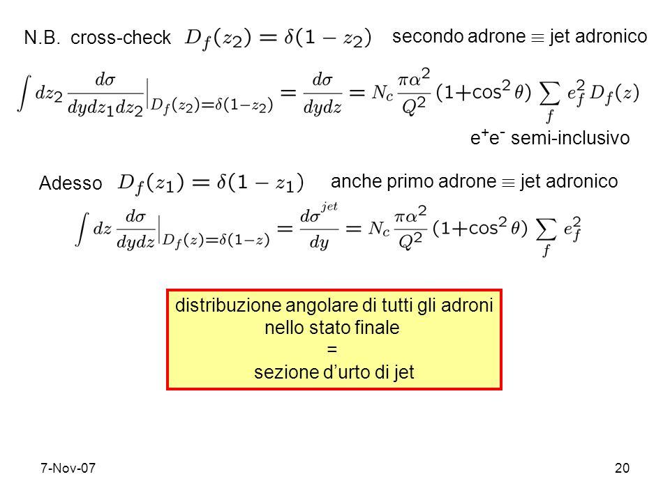 7-Nov-0720 N.B. cross-checksecondo adrone ´ jet adronico e + e - semi-inclusivo Adesso anche primo adrone ´ jet adronico distribuzione angolare di tut