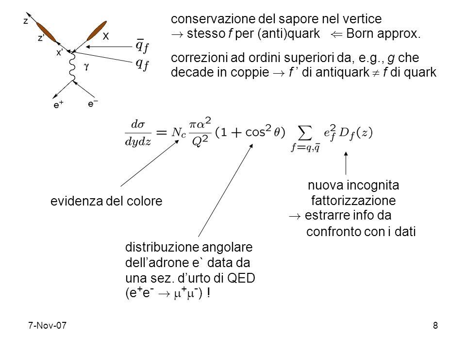 7-Nov-078 conservazione del sapore nel vertice ! stesso f per (anti)quark ( Born approx. correzioni ad ordini superiori da, e.g., g che decade in copp