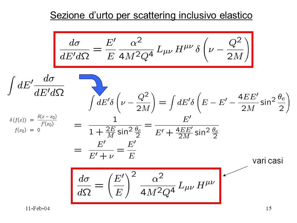 11-Feb-0415 Sezione durto per scattering inclusivo elastico vari casi