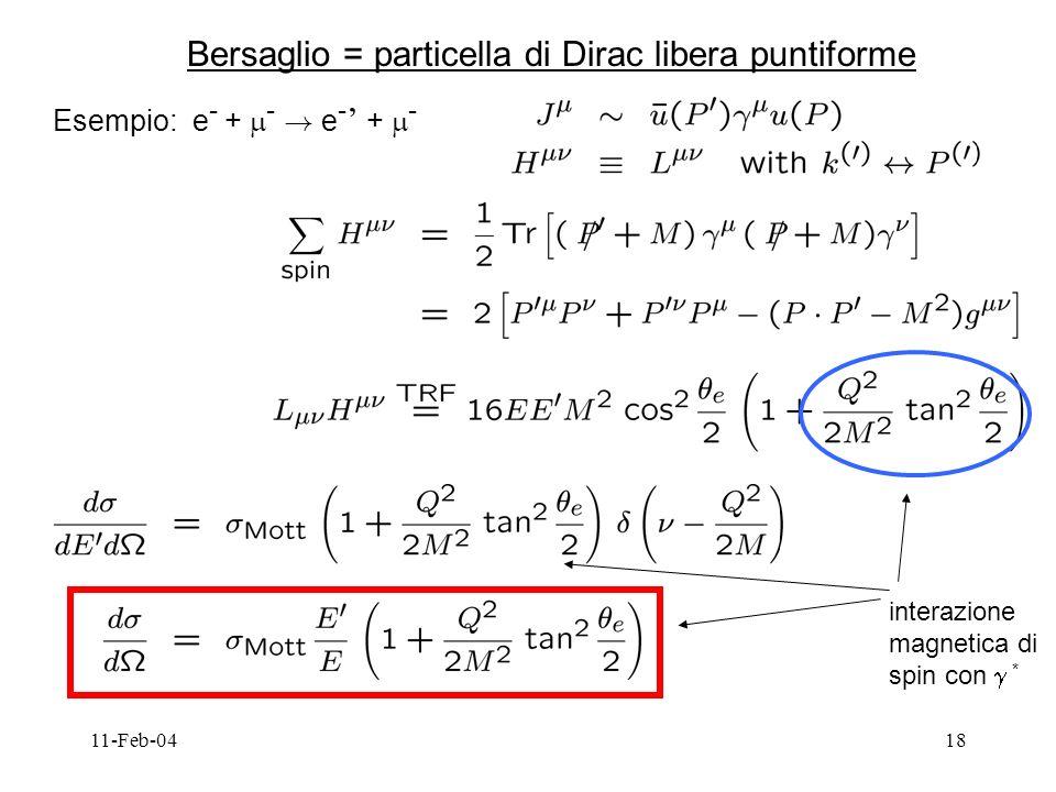 11-Feb-0418 Bersaglio = particella di Dirac libera puntiforme Esempio: e - + - .