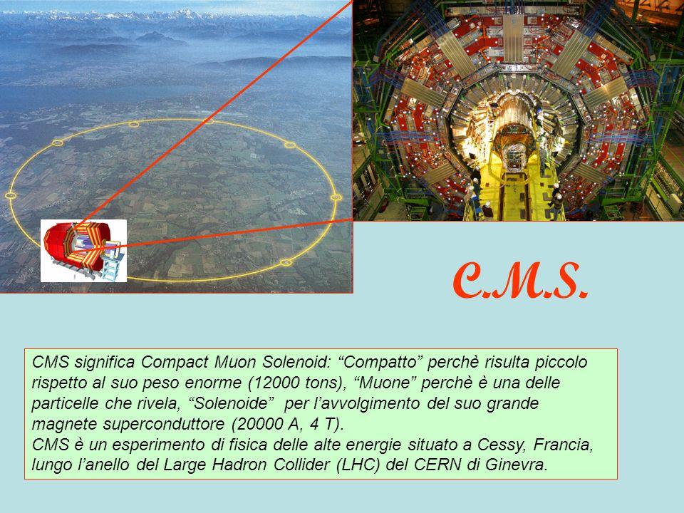 CMS significa Compact Muon Solenoid: Compatto perchè risulta piccolo rispetto al suo peso enorme (12000 tons), Muone perchè è una delle particelle che rivela, Solenoide per lavvolgimento del suo grande magnete superconduttore (20000 A, 4 T).
