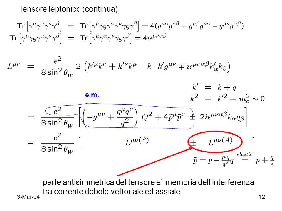 3-Mar-0412 Tensore leptonico (continua) parte antisimmetrica del tensore e` memoria dellinterferenza tra corrente debole vettoriale ed assiale e.m.