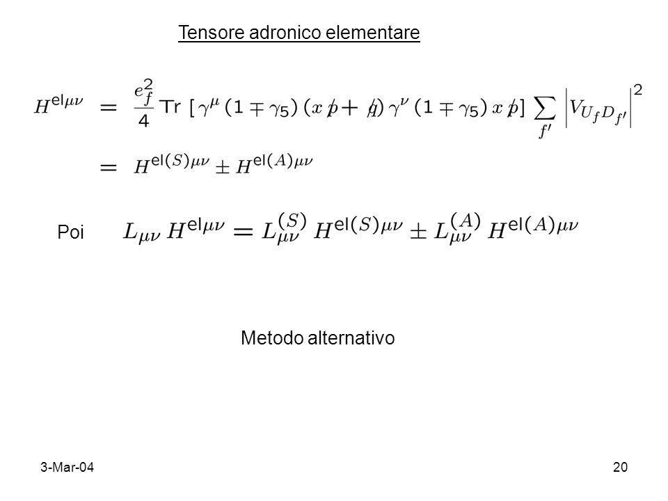 3-Mar-0420 Tensore adronico elementare Poi Metodo alternativo