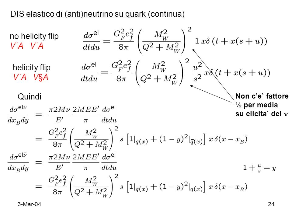3-Mar-0424 DIS elastico di (anti)neutrino su quark (continua) no helicity flip V¨A helicity flip V¨A V§A Non ce` fattore ½ per media su elicita` del Q