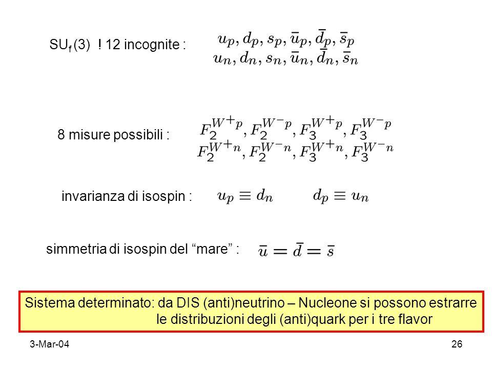 3-Mar-0426 SU f (3) ! 12 incognite : 8 misure possibili : invarianza di isospin : simmetria di isospin del mare : Sistema determinato: da DIS (anti)ne
