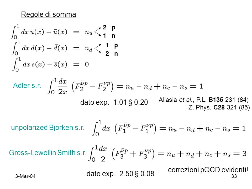 3-Mar-0433 Regole di somma 2 p 1 n 1 p 2 n Adler s.r. dato exp. 1.01 § 0.20 Allasia et al., P.L. B135 231 (84) Z. Phys. C28 321 (85) unpolarized Bjork