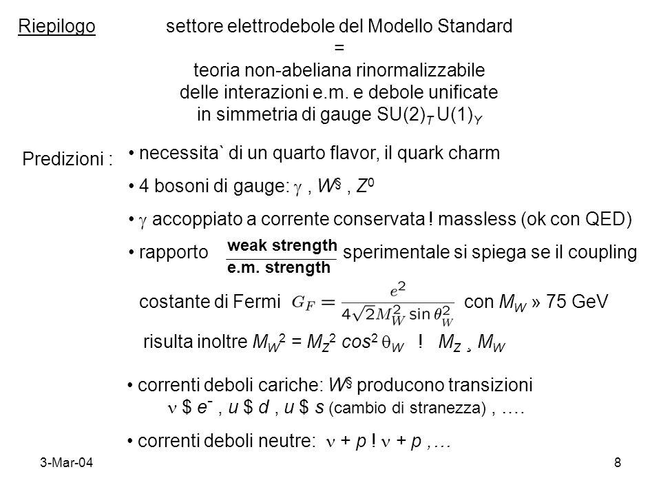 3-Mar-048 Riepilogosettore elettrodebole del Modello Standard = teoria non-abeliana rinormalizzabile delle interazioni e.m. e debole unificate in simm