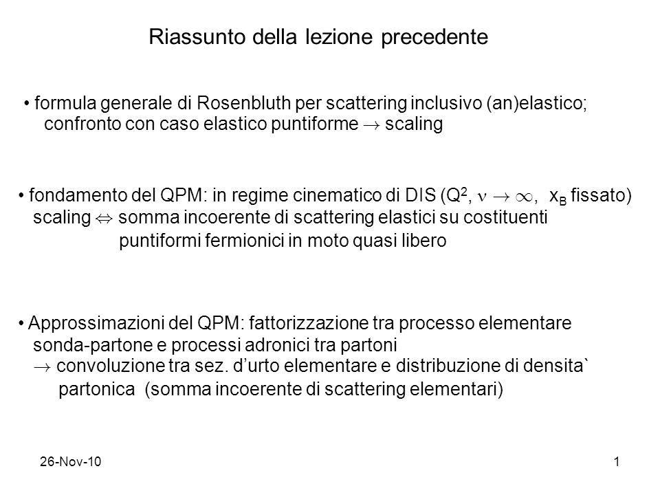 26-Nov-101 Riassunto della lezione precedente formula generale di Rosenbluth per scattering inclusivo (an)elastico; confronto con caso elastico puntif